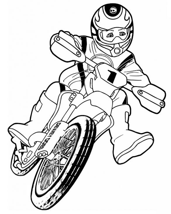 Boy Riding A Dirt Bike For Motorcross Coloring Page Transportation