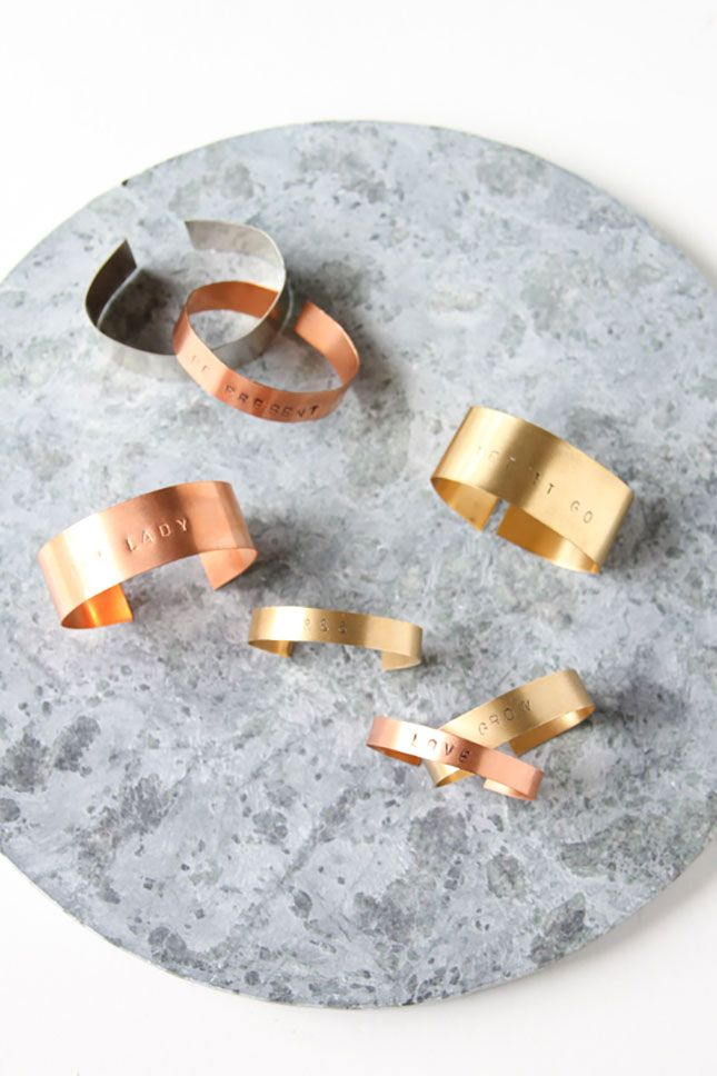 Make metal stamped cuffs with this tutorial.