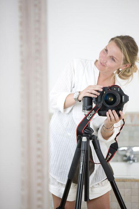 Annette photographing at Villa Maroc in the Essaouira medina