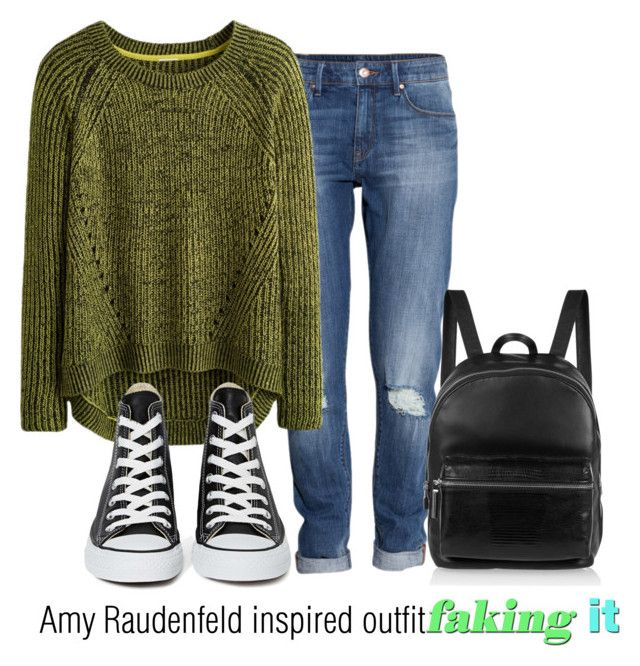 """""""Amy Raudenfeld inspired outfit/Faking IT"""" by tvdsarahmichele ❤ liked on Polyvore featuring H&M, Converse and Elizabeth and James"""
