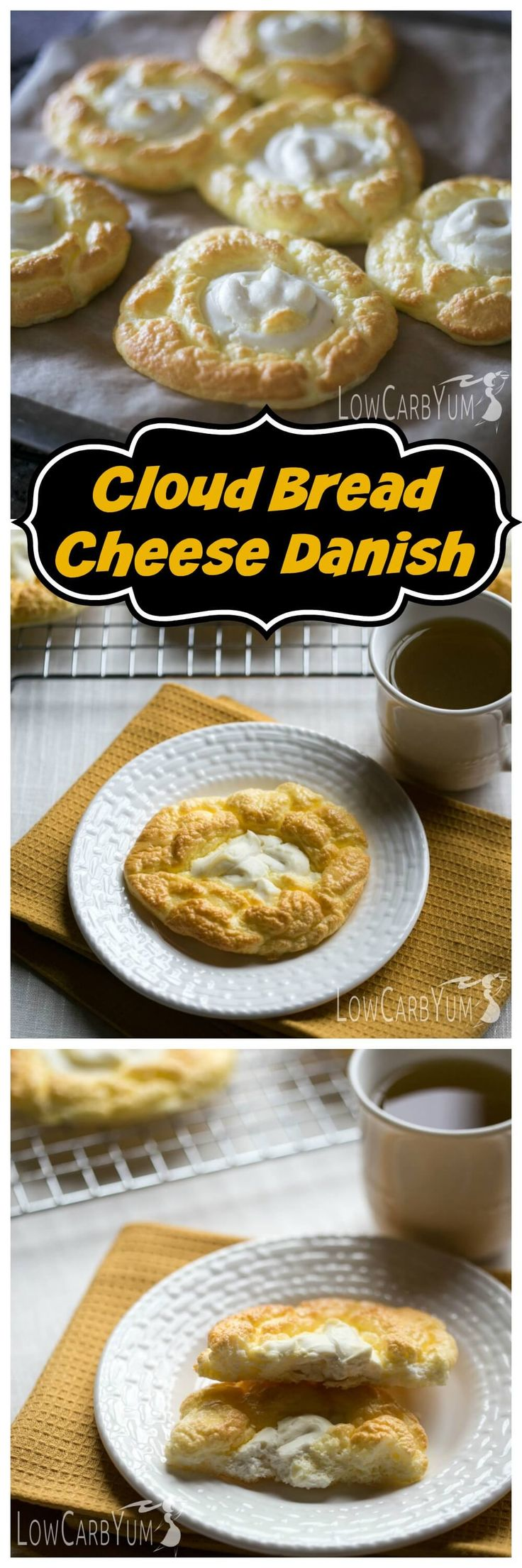 An egg fast friendly cloud bread cheese danish recipe that's super low in total carbs. It's a nice low carb treat to enjoy any time of day.   LowCarbYum.com