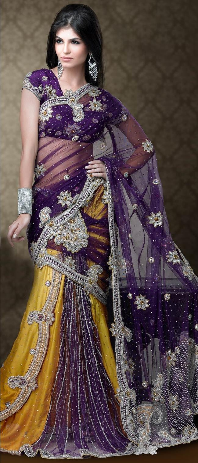 #Violet and #Yellow Net #Lehenga Style #Saree with #Blouse @ US $574.67