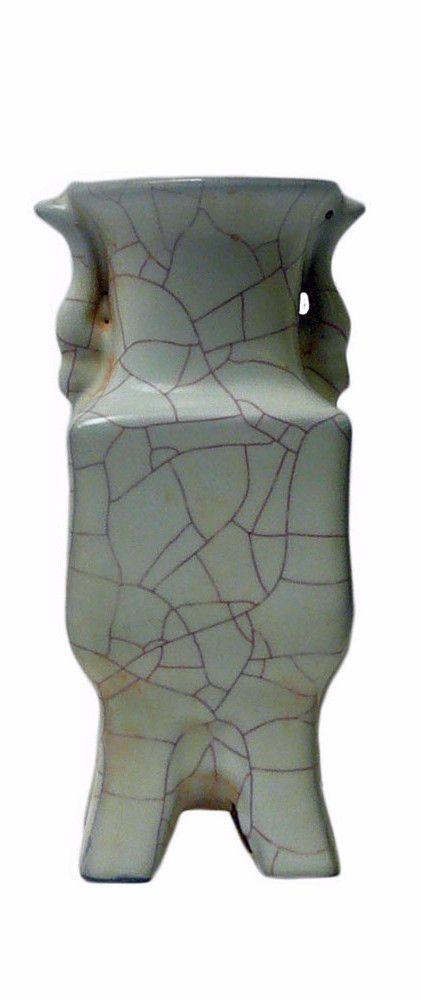 Chinese Light Green Celadon Crackle Ceramic Vase cs567-15S