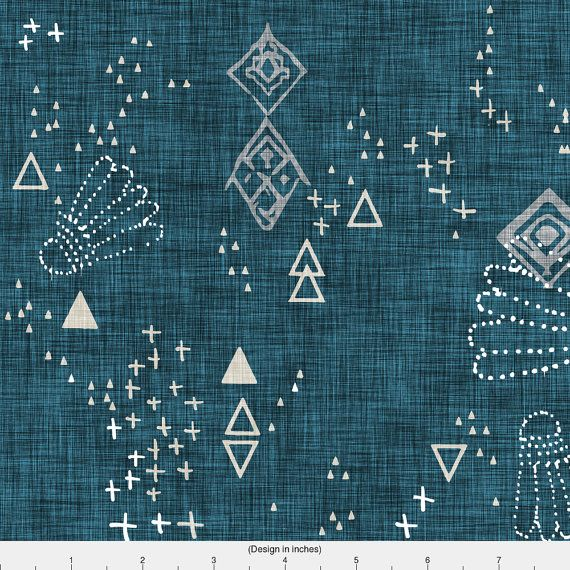 Southwestern Fabric - Markings (Midnight) By Nouveau Bohemian - Bohemian Southwestern Cotton Fabric By The Yard With Spoonflower Fabrics