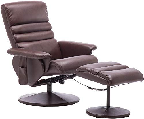 Amazing Offer On Mcombo Electric Faux Leather Recliner Chair Ottoman Swivel Gaming Massage Chair Wrapped Base Remote Control Swivel Seat 7902 Dark Brown Onli ในป 2020