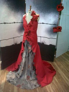 Image result for chicken wire knitted poppy display