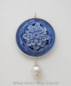 Blue silver pendant. Nespresso recycling jewelry by What Else? Was Sonst?