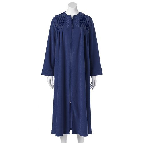 Miss Elaine Essentials Smocked French Terry Robe - Women's CLEARANCE $24.00 Original $60.00