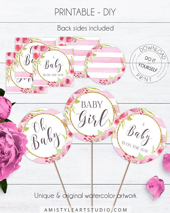 Baby Shower Floral Cupcake Toppers, with adorable and dazzling watercolor floral design on a striped background in vintage and shabby chic style.This charming baby shower cupcake topper template listing is for an instant download PRINTABLE PDF so you can download it right away, print it at home or at your local copy shop by Amistyle Art Studio on Etsy