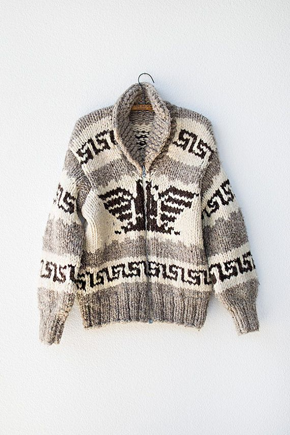 vintage 1940s or 1950s cowichan sweater