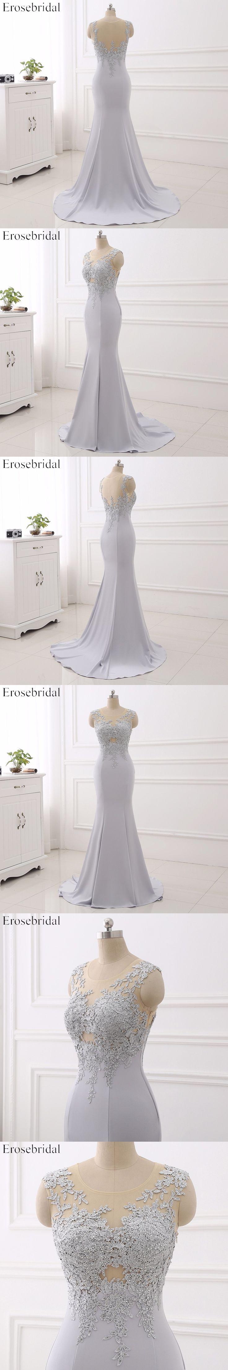 2017 Illusion Prom Dresses Erosebridal Mermaid Evening Dress Sheer Neck Formal Women Wear Appliques Vestido De Festa