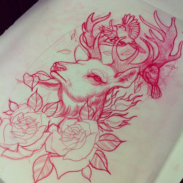 Deer & roses - holy shit, this is what I want but with 3 little birdies for…