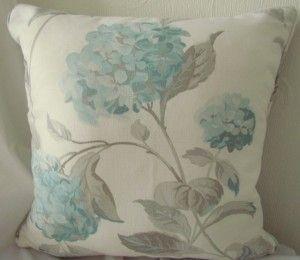 Laura Ashley Hydrangea duck egg & Gingham cushion - From Cushions To Curtains