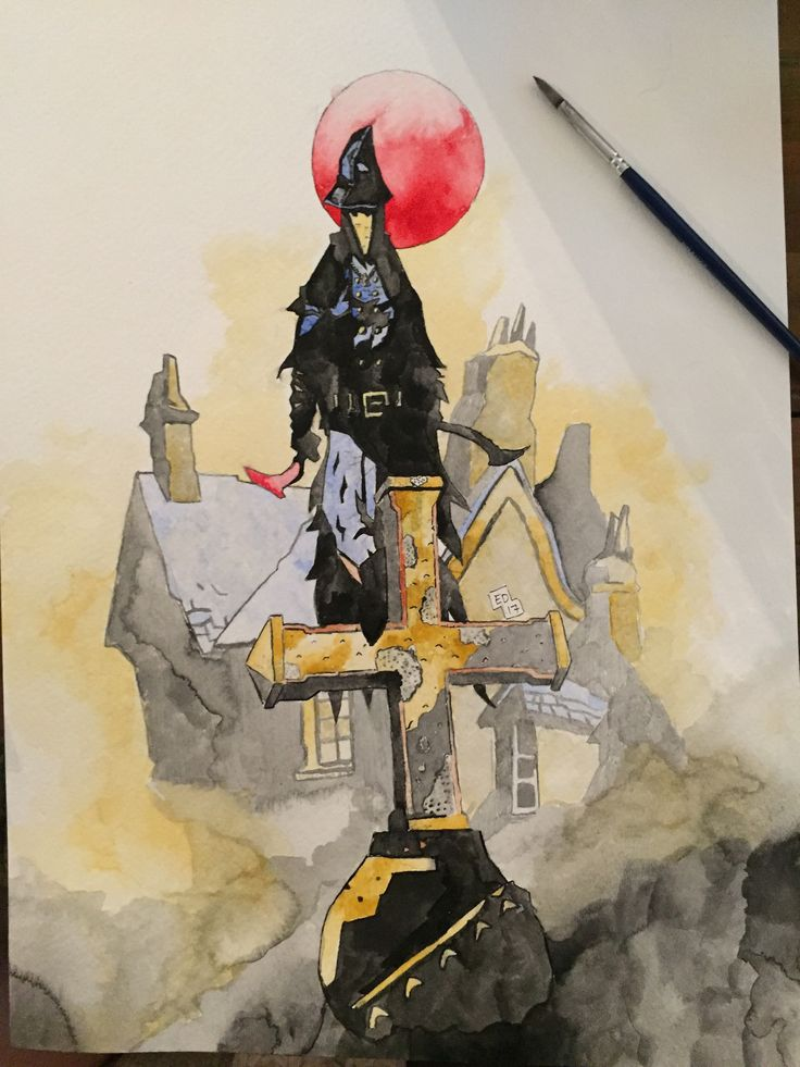 I painted Eileen the Crow from Bloodborne using Mike Mignola's (Hellboy) style of art.
