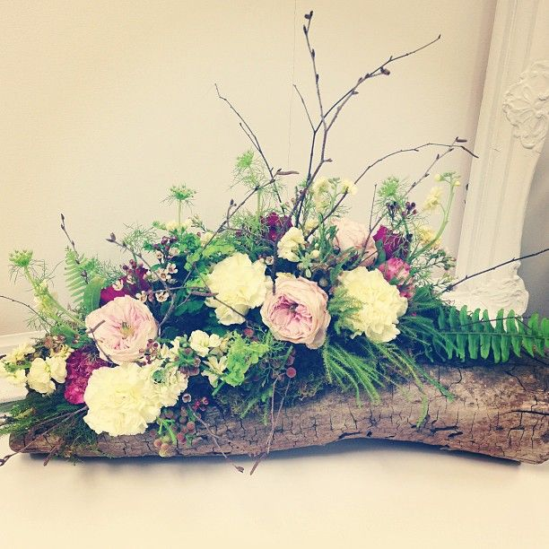 Garden Roses Carnations Moss Ferns And Birch Branches