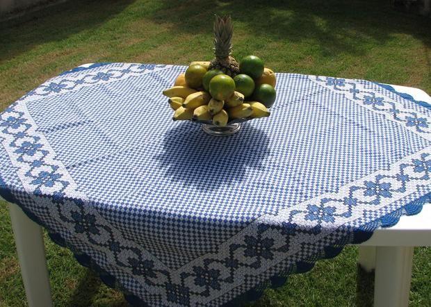 Toalha de mesa ponto cruz duplo no tecido xadrez