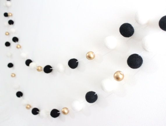 Monochrome & Gold Felt Ball garland Black white by SheepFarmFelt