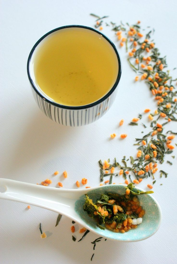 Genmaicha - Saison du Thé; Japanese green tea with toasted brown rice, has a delicious green and nutty flavor, especially when the green tea is of quality. Usually made from bancha, or sencha (the better of quality of the two).