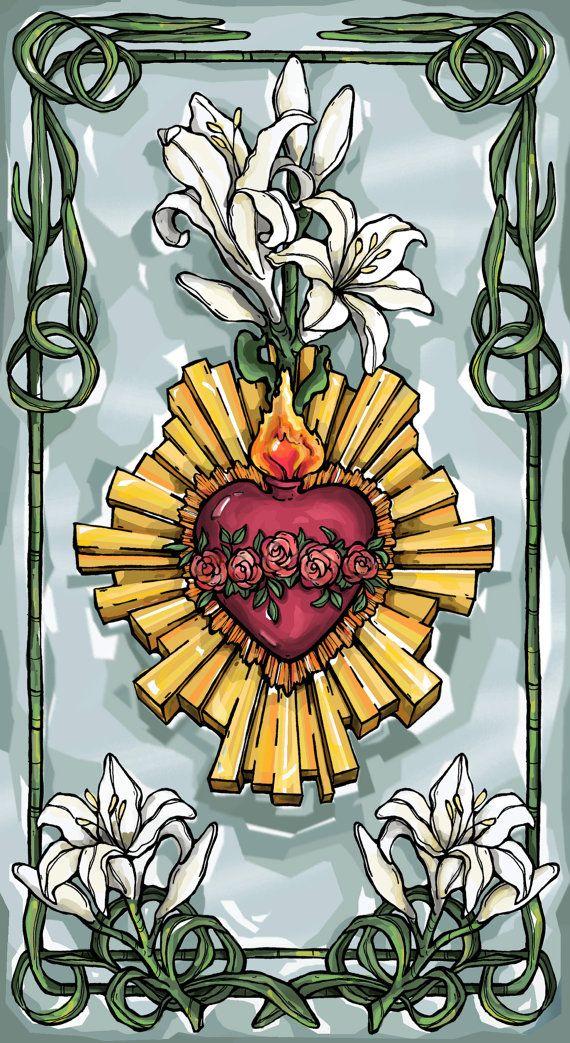 Mooie heilige kaart voor het onbevlekt hart van Maria met een zoete gebed aan…