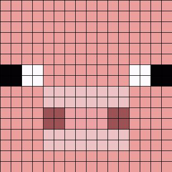 Minecraft Pig Face Perler Bead Pattern