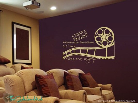 Welcome To Our Movie Room Sit Back Relax Enjoy Decal U2022 Vinyl Lettering U2022  Theatre Room U2022 Wall Art Graphics Lettering Decals Stickers 1080