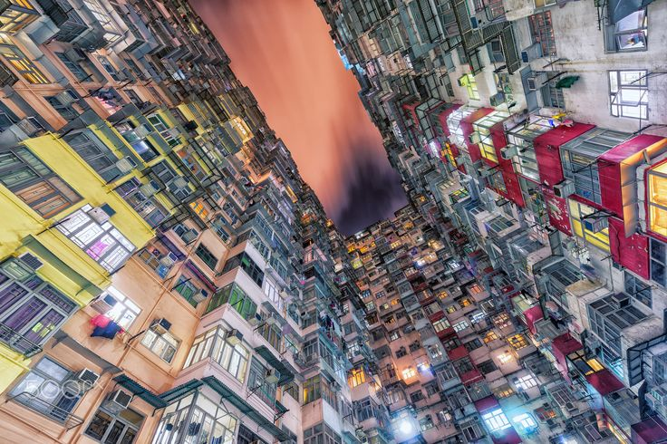 Hong Kong urban architecture - The densely packed Hong Kong urban buildings with view on... each other.