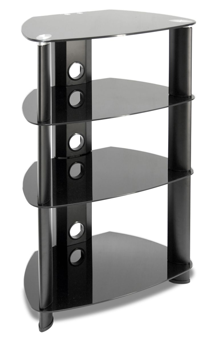 Triple-Decker. Clean and simple in design, the Tripoli audio stand offers plenty of space without a bulky look. Tempered black glass maintains a modern feel that will go perfectly with today's sleek electronics, and integrated cutouts in the back will neatly keep cables bundled together. Customer assembly is required.