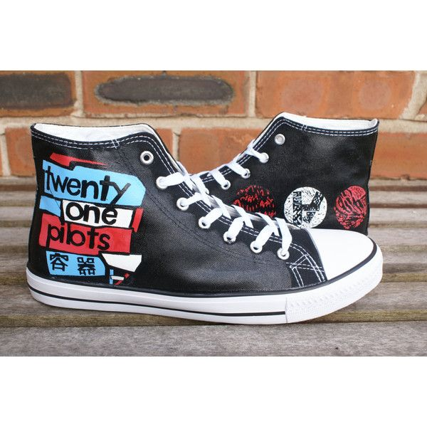 Twenty One Pilots hand painted canvas high tops, made to order. ($63) ❤ liked on Polyvore featuring twenty one pilots