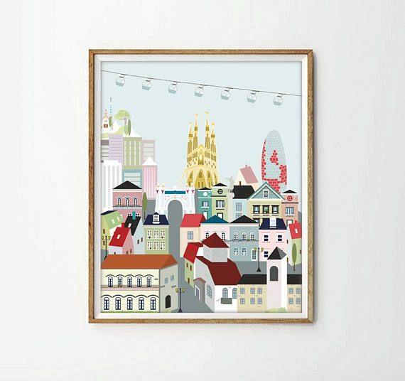 Barcelona,lamina Barcelona,poster Barcelona,laminas imprimibles,Sagrada Familia,laminas casas,laminas decorativas,4 tamaños incluidos