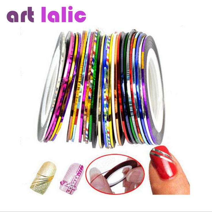 30 Multi-Color Mixed Striping Tape for Nail Art //Price: $2.70 & FREE Shipping //     #hashtag1