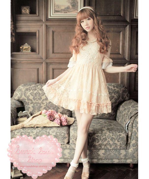 Casual Lolita / Gyaru Lace Dress 47.00