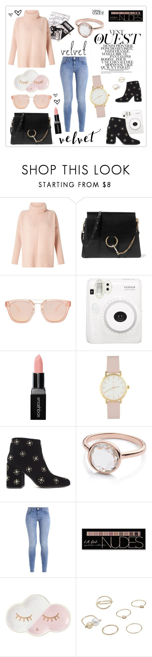 """""""Crushing on Velvet"""" by mars ❤ liked on Polyvore featuring Miss Selfridge, Chloé, Smashbox, Senso, Monica Vinader, Charlotte Russe and MANGO"""