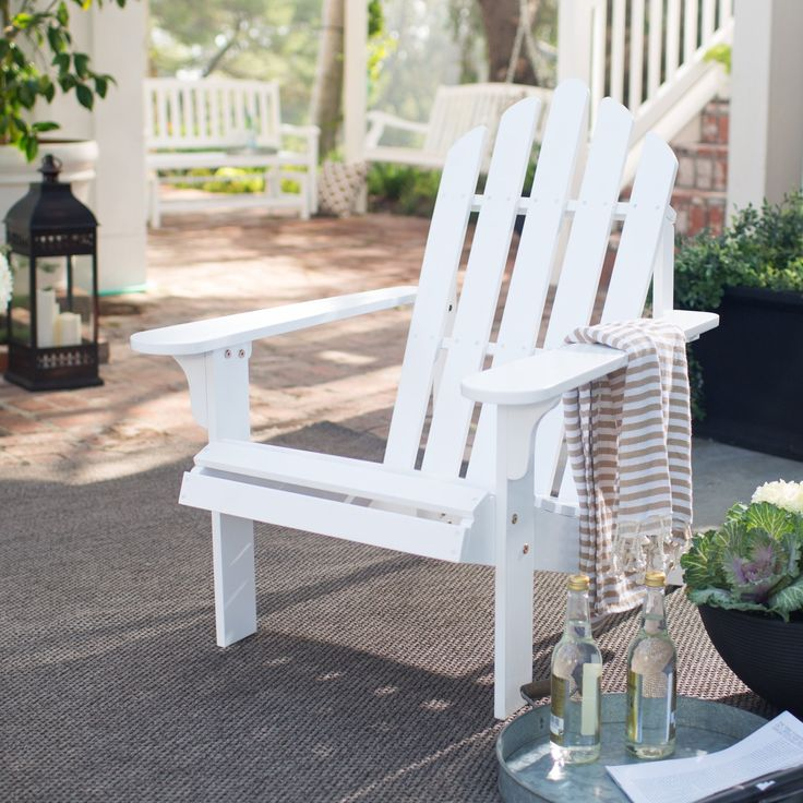 Coral Coast Pleasant Bay Acacia Adirondack Chair - White - Treat yourself to ultimate comfort when enjoying the sun, surf, poolside, or patio with the Coral Coast White Painted Acacia Adirondack Chair...