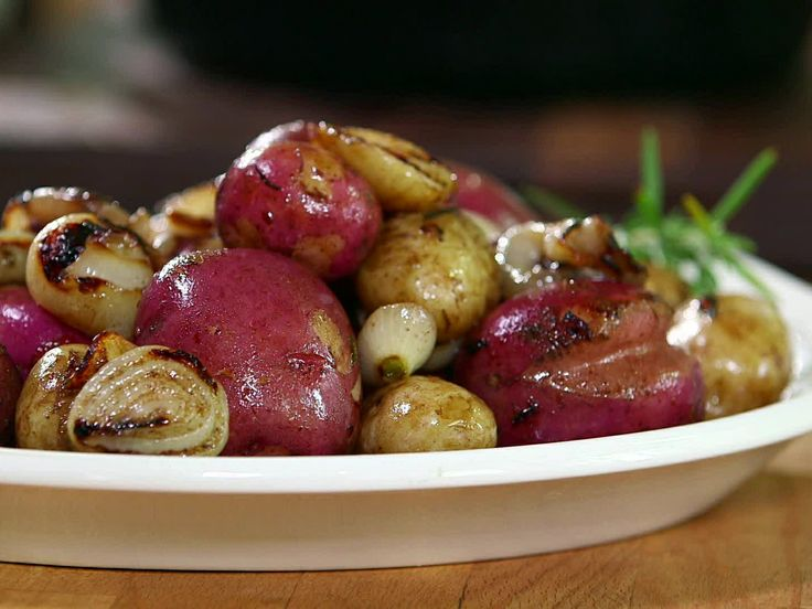 New Potatoes with Grilled Onion Butter from FoodNetwork.com - replace onions with mushrooms