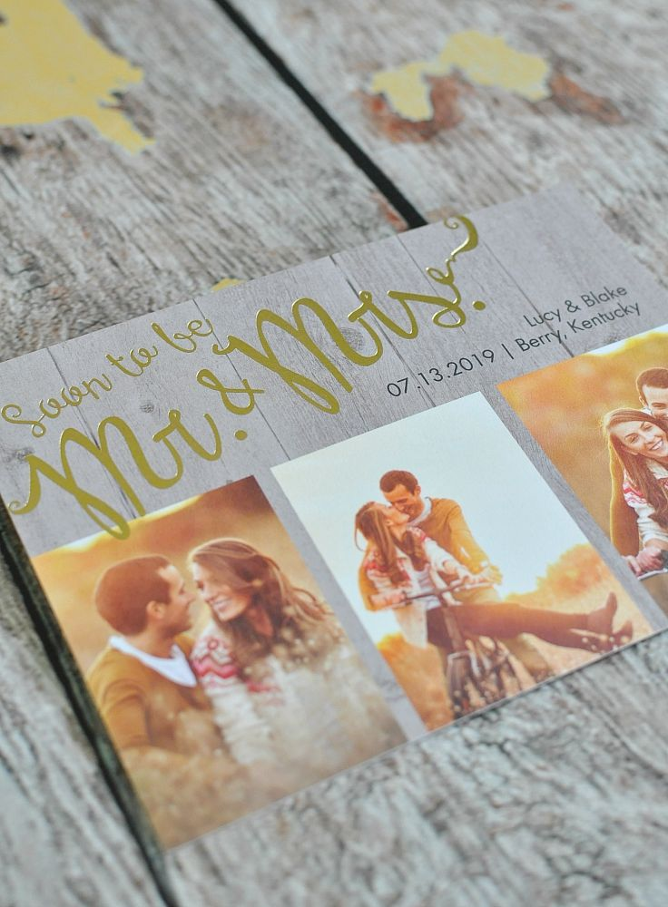 Rustic Style meets Gold Stamping with this Soon to Marry Save the Date #goldfoil