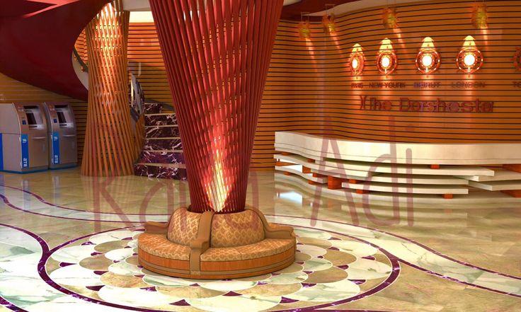 #Hotel #Reception inspired from sea world The dorchester hotel #interiordesign