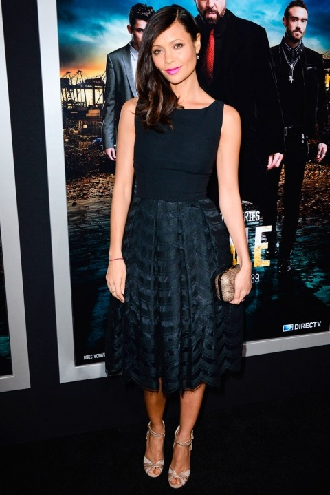 Thandie Newton at the Rogue TV Series premiere in LA - Hot Pink Lips