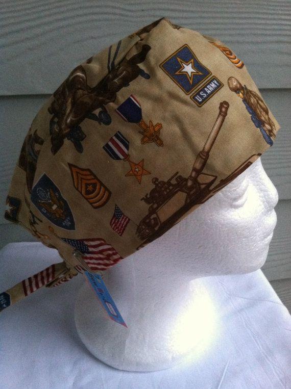 Scrub hat skull cap Chemo cap US Army by sewitsmadebyWendy on Etsy, $7.00