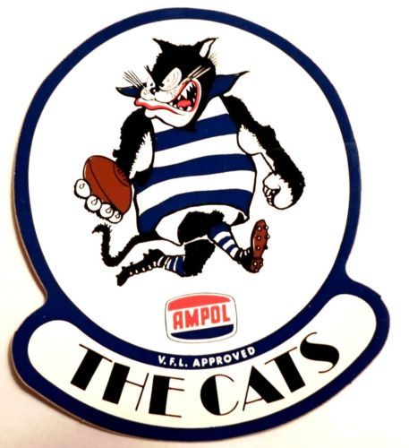 Ampol VFL FOOTBALL STICKER Geelong Victoria Australia The Cats 1970's RARE