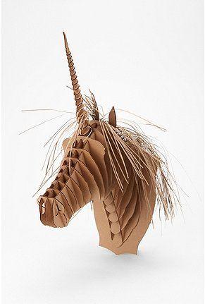 cardboard unicorn: Urban Outfitters, Cardboard Deer Head, 3D Design, Animal Head, Paper Art, 3D Art, Cardboard Unicorns, Girls Rooms, Kids Rooms