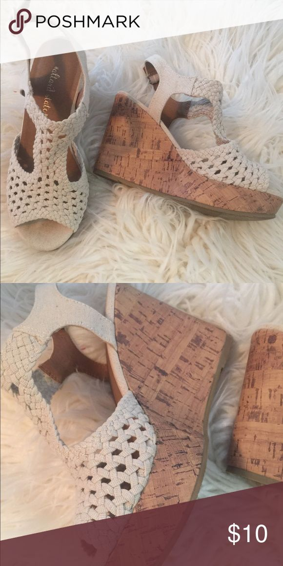 Cream wedge sandals-great condition Such a cute pair of cream wedge sandals with a crochet look complementing so many outfits-excellent condition! Shoes Wedges