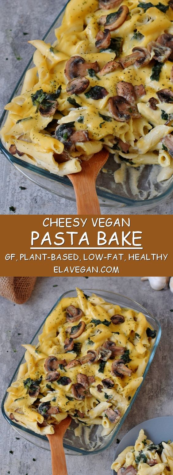 #Vegan #pastabake recipe with cauliflower, mushrooms, and spinach. This #plantba…
