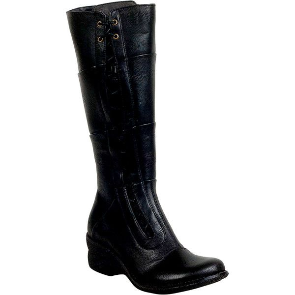 Miz Mooz October Women's Knee-High Boot ($100) ❤ liked on Polyvore featuring shoes, boots, black, lace up boots, wedge heel boots, black wedge boots, black wedge knee high boots and knee high wedge boots