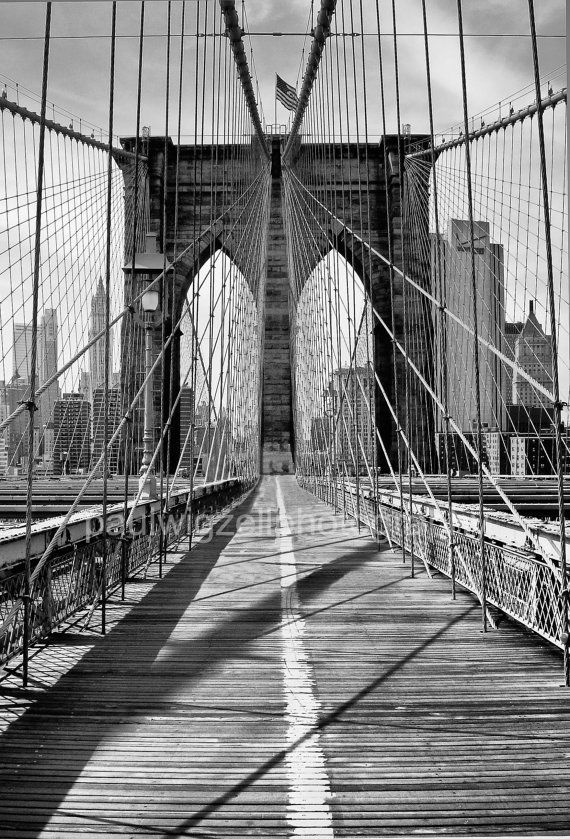 Brooklyn Bridge New York black and white by pwigzellphotography, $2.00