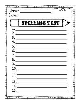 Spelling Test Format - Free