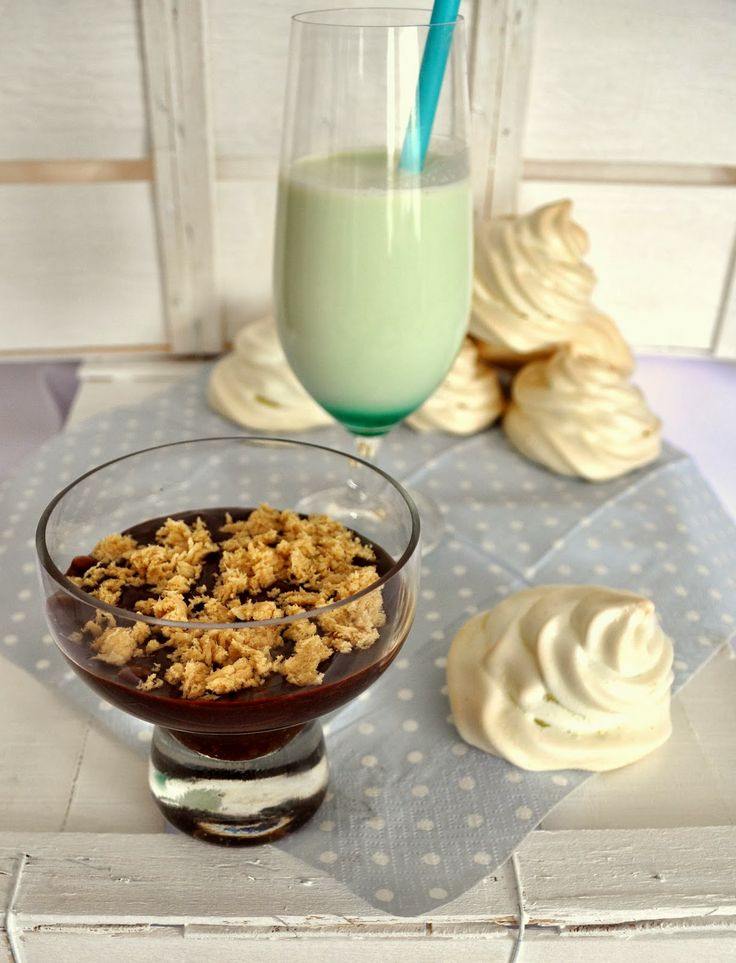 Chocolate custard and mint meringues  A perfect dessert: minty meringues with rich chocolate custard.