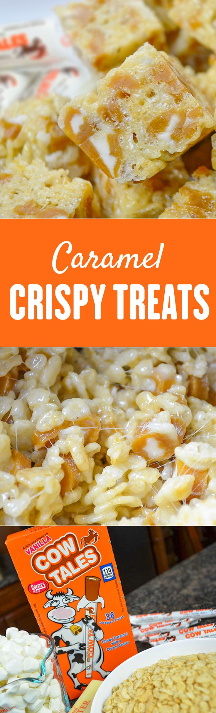THE BEST! Everyone LOVES these caramel crispy treats made with Cow Tales! Be sure to double the recipe for parties!