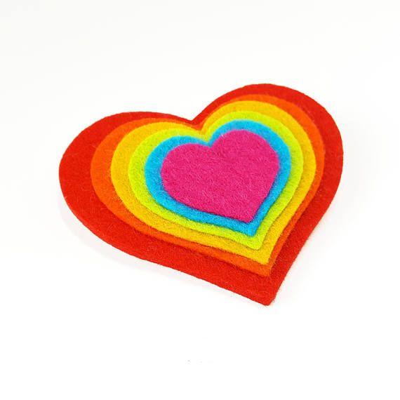 Rainbow Heart Brooch - Felt Brooch - Novelty Brooch - Gay Pride Rainbow Heart Brooch