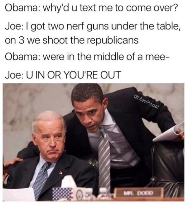 Joe Biden and Barack Obama meme's #wingman #bromance