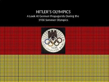 HITLER USED THE OLYMPICS FOR PROPAGANDA PURPOSES. THE POWERPOINT USES POSTER CREATED BY THE GERMANS AND POINTS OUT HOW PROPAGANDA TECHNIQUES WERE IMPLEMENTED SUCH AS USING SYMBOLS HIDDEN WITHIN THE IMAGES.